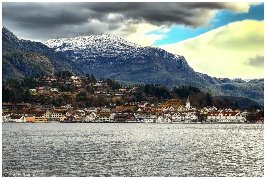 Norwegia osada na wysepce. Sand-Sauda