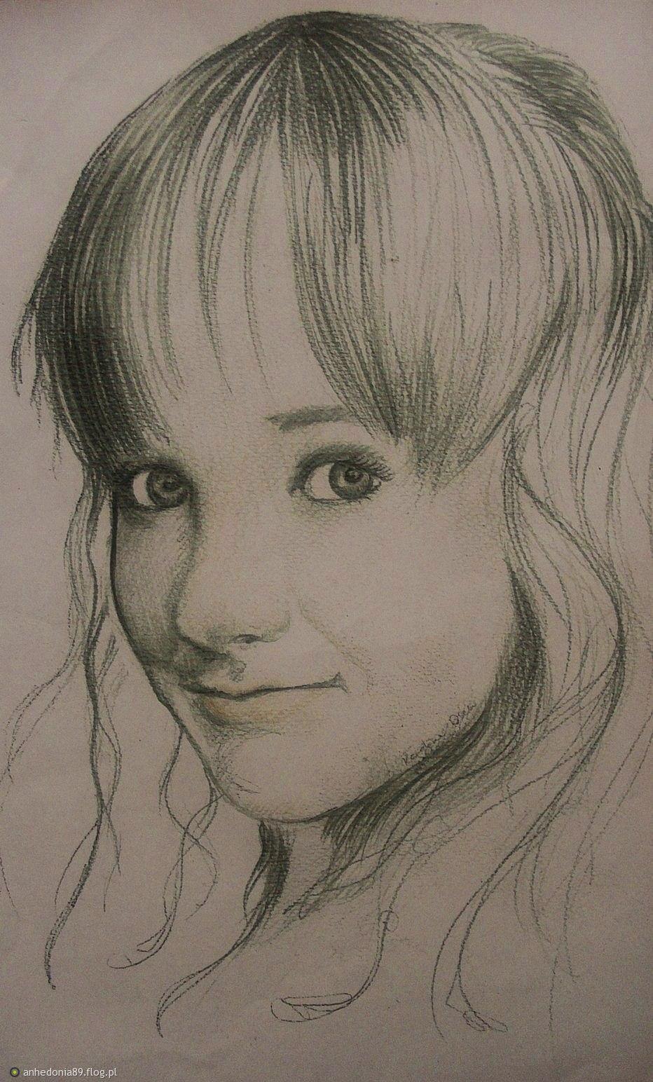 Tag Dziewczynka Dziewczyna Portret Rysunek Ołówek Twarz Półprofil