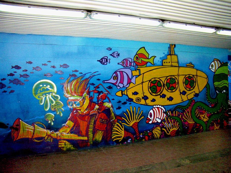 """"""" DWADZIEŚCIA - MIL- MORSKIEJ - PODRÓŻY """"  - w  graffiti"""