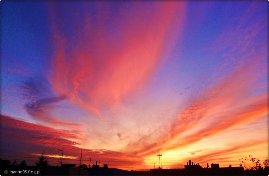 Zachodzącym Słońcem Niebo Malowane Zdjęcie Fotoblog
